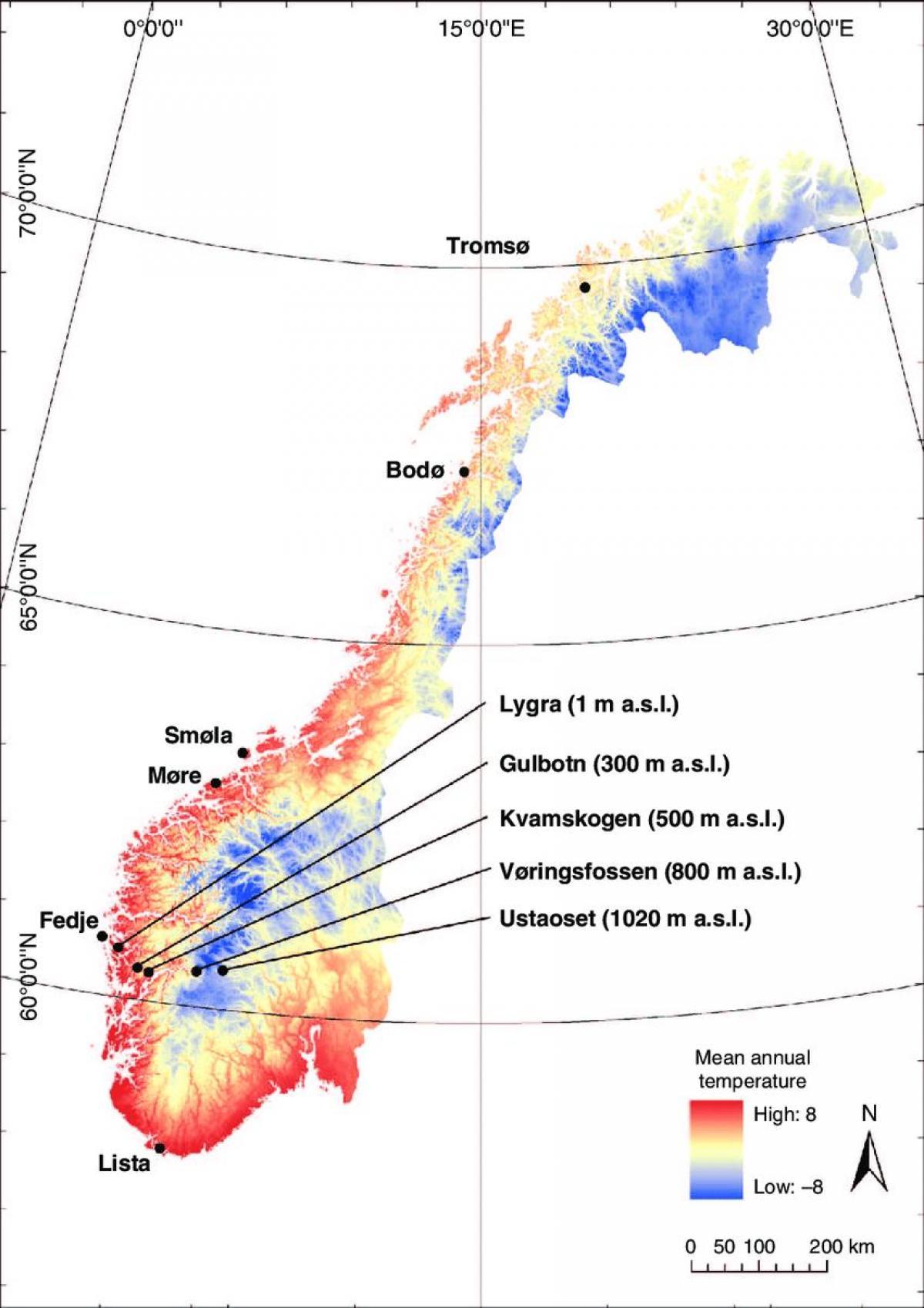 Norvegia Eghajlati Terkep Norvegia Homerseklet Terkep Eszak